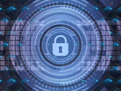 internet security digital padlock and key
